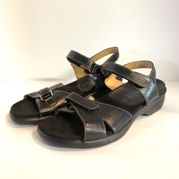 0b6eebdcbd3 Mephisto Shoes | Black Leather Comfort Velcro Sandal | Poshmark